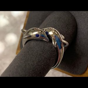 Sterling Silver Twin Dolphin Blue CZ Ring